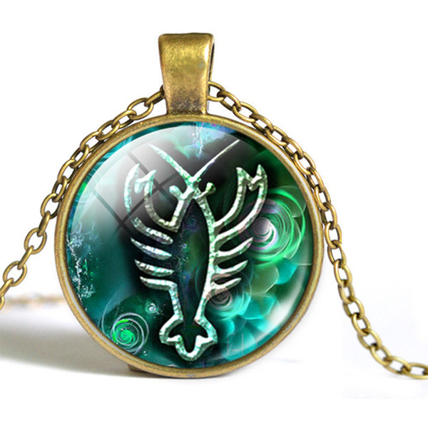 New Fashion 12 Constellation Zodiac Cancer Time Gem Glass Cabochon Choker Long Link Chain Pendant Necklace For Women Men Best Gift Wholesale