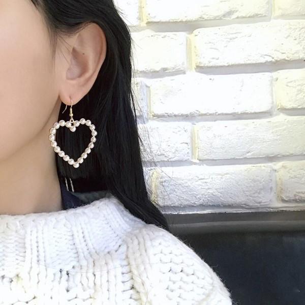 Neue Ankunft Gold Farbe Liebe Herz Ohrringe Für Frauen Koreanischen Stil Perle Baumeln Ohrringe Fashion Party Hochzeit Schmuck
