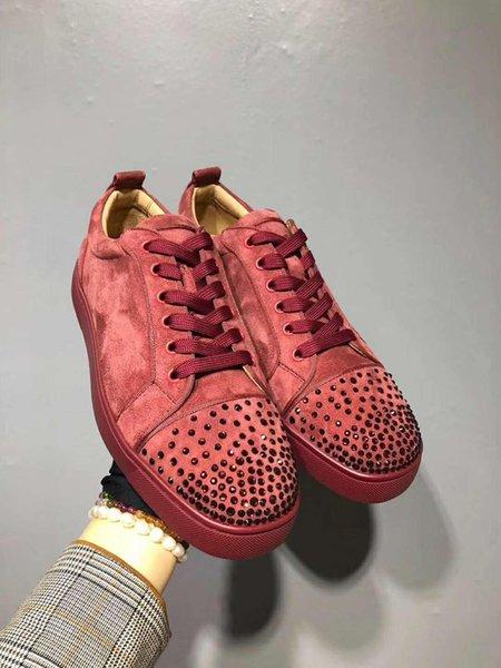 Preferisci regalo Scarpe basse di lusso nuove Pantaloni rossi Uomo Donna Scarpe basse scamosciate Scarpe casual Scarpe sportive Sneakers 35-46 Con scatola
