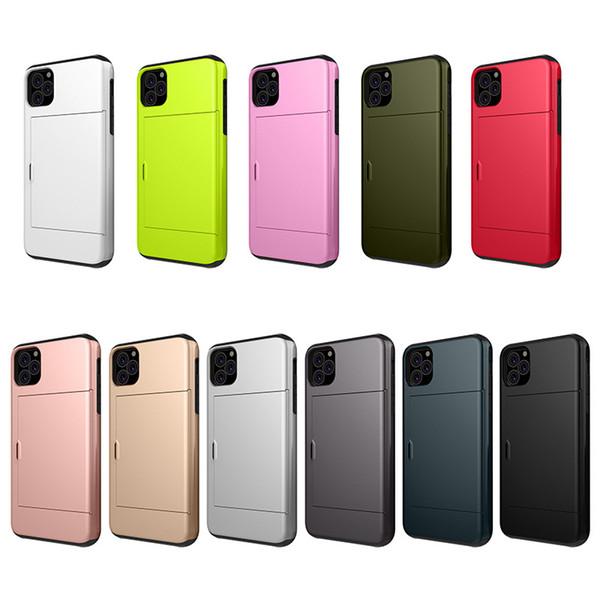iphone için 10pcs Yüksek Kart Yuvası Zırh Tutucu Cüzdan kapak 11 pro X XS Max XR 7 6S 6 8 Artı samsung için Hibrid s8 s9 s10 artı not 10 8 9