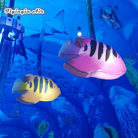 Customized Personalized Lighting Inflatable Colorful Fish 1.5m Ceiling Pendent Cartoon Fish Balloon With Led Light For Aquarium Decoration