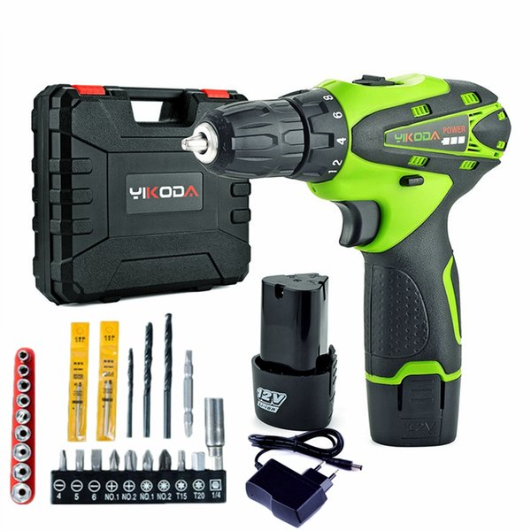 yikoda 12v cordless drill lithium battery*2pc diy rechargeable electric screwdriver household multi-function power tools plus accessories