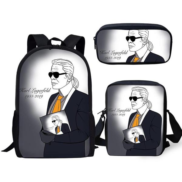 ELVISWORDS 3PCs Set Children's Backpack Karl Lagerfelds Designer Pattern School Book Bag Students Backpack/Messenger Bag/Pen Bag