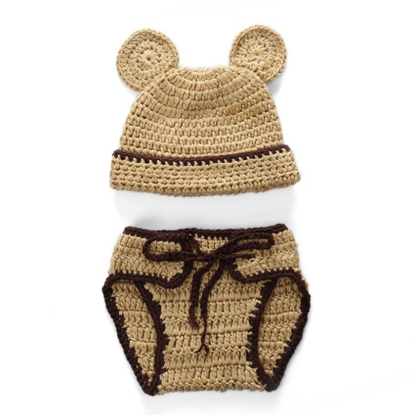 Cute Baby Bear Newborn Outfits,Handmade Knit Crochet Baby Boy Girl Animal Bear Cap and Diaper Cover Set,Infant Halloween Photo Prop