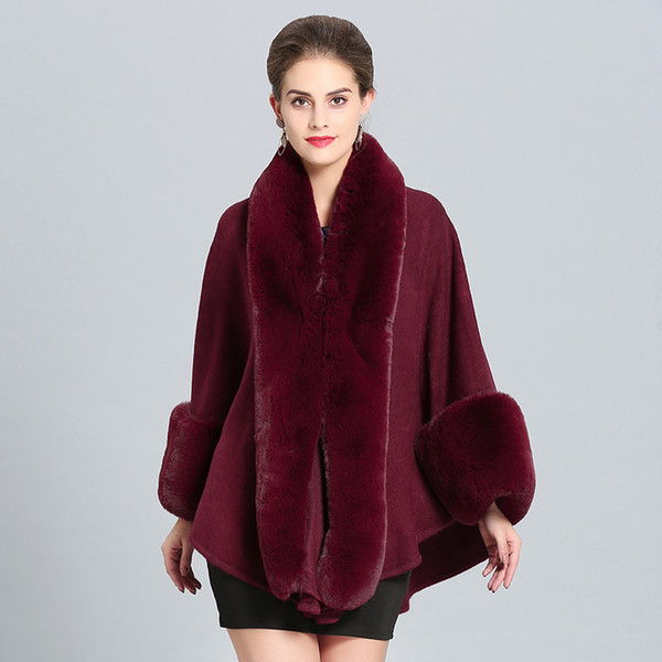 Women Woolen Shawl with Faux Rabbit Fur Trim with Fur Collar Wrap Autumn Spring Cape Coat with fur cuffs Stole