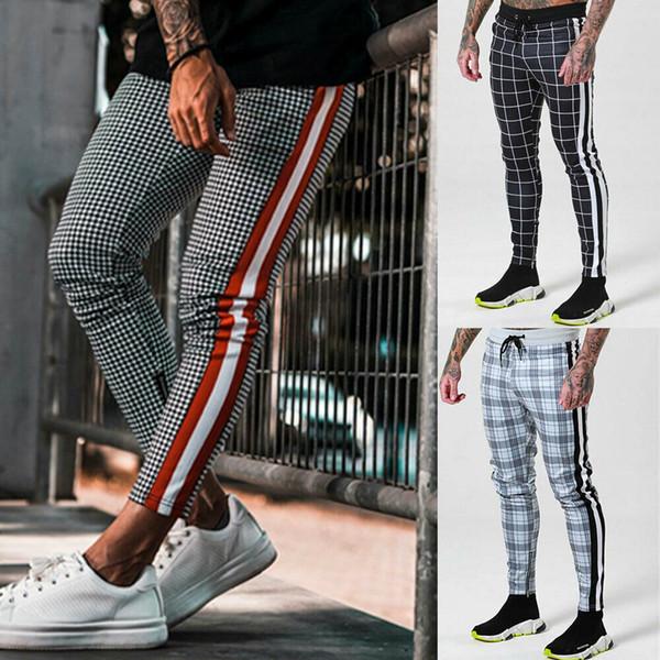 Homens de negócios longas Esporte Casual Calças Streetwear Hip Hop listra Side Ginásio Slim Fit Calças Executando Corredores Sweatpant Calças Lápis