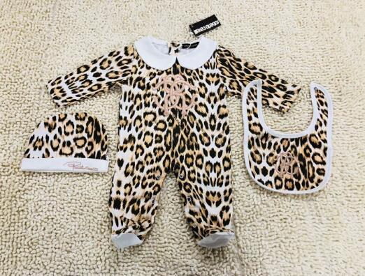 Leopardenmuster MÄDCHEN Neugeborenen Overall Baby Mädchen Kleidung Mütze Strampler Bib Anzug Baumwolle Baby Kleidung Babyausstattung Set NEU