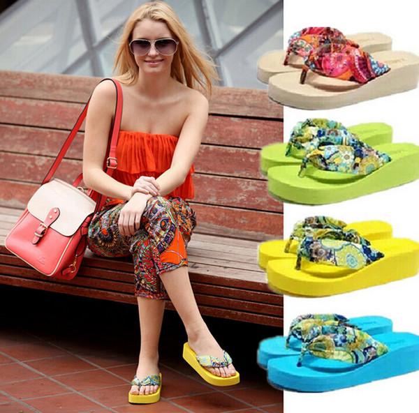DORP SHIPPING 2015 Summer bohemia flower Women flip flops platform wedges women sandals platform flip slippers beach shoes
