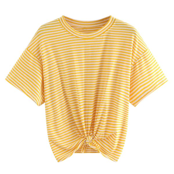 FREE OSTRICH Women Shirts Stripe Knotting Short Sleeve Yellow Loose Casual Solid Honey O-Neck Trend Elegant Summer Blouse Shirts