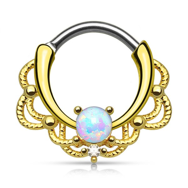 Nose Ring Silver Gold Body Clip Hoop For Women Septum Piercing Clip Jewelry Gift Opal stainless steel ring