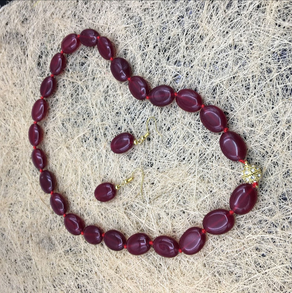 Factory Price Natural Stone Deep Red Rubies Red Chalcedony 13x18mm Oval Necklace Bracelet Earring Jewelry Suit Mother's Day Gif