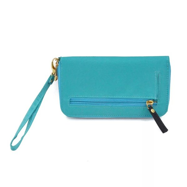 Solid Color Wallet Hot women long wallet lady purse multifunctional clutch bag Nylon card holders wallets Zipper with Strap
