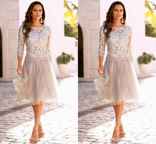 Silver Short Lace Mother of the Bride Dresses Scoop Neckline Knee Length A-Line 3/4 Long Sleeve Tulle Woman Formal Evening Gowns M067