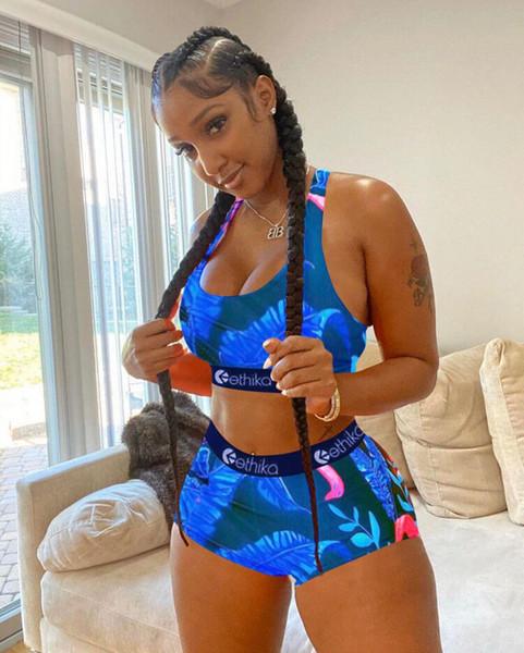 best selling Women Ethika underwear Swimwear Sexy Tie up Bra +Shorts Half Length Pants 2 Piece Tracksuit Patchwork Shark Camo Striped Swimsuit Bikini