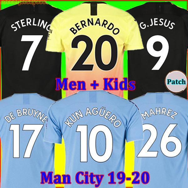 19 20 maglia da calcio Manchester City MAN 2019 2020 G. JESUS MAHREZ DE BRUYNE KUN AGUERO maglia da calcio MENDY MAN uniformi uomo + kit per bambini