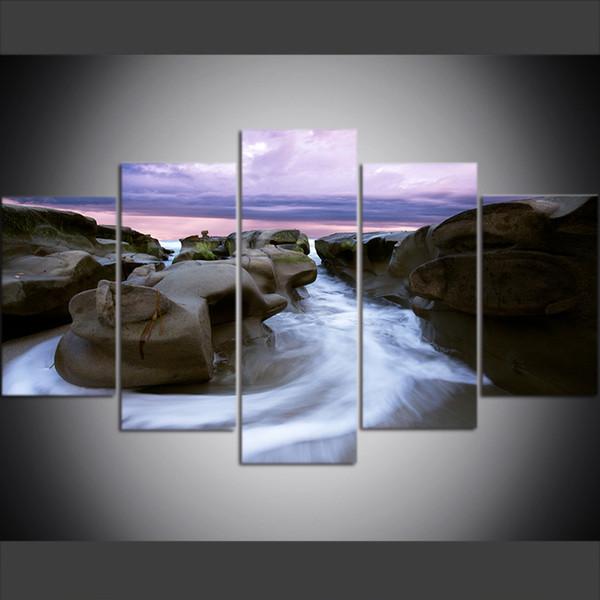 5 pezzi di grandi dimensioni tela wall art immagini Creative La Jolla The Sea, Rocks, Sunset Stampa artistica pittura a olio per soggiorno Decor