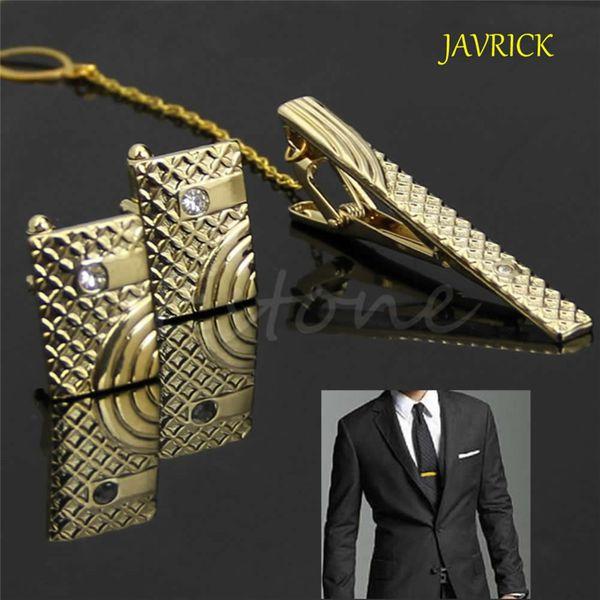 JAVRICK Novo Presente Dos Homens De Metal Gravata Clipe Bar Clasp Cufflinks Define Ouro Simples ZB380