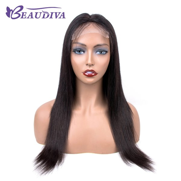Brazilian Straight Human Hair Wigs With Baby Hair 4*4 Middle Part Lace Front Wigs For Black Women 18 Inch Beau diva Hair Wigs