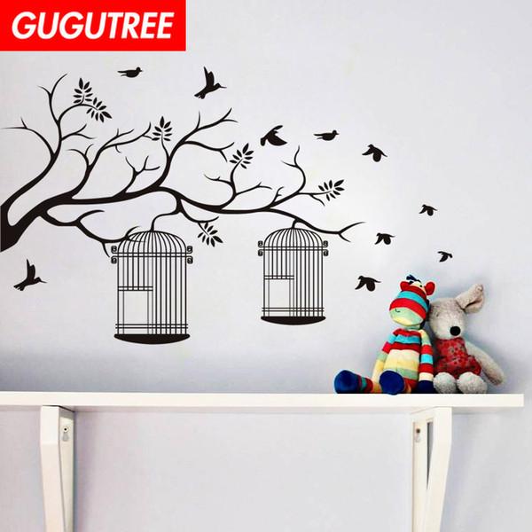 Decorate Home trees bird cartoon art wall sticker decoration Decals mural painting Removable Decor Wallpaper G-1737
