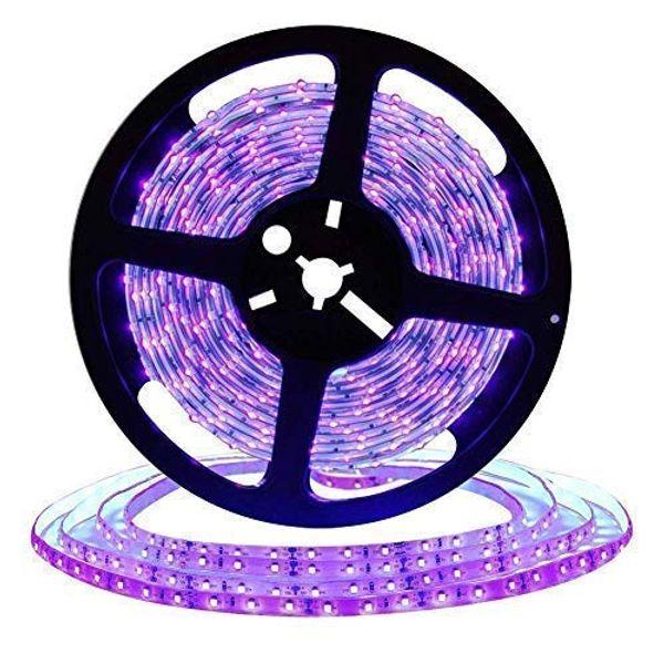 Bande de lumière noire UV de 16,4 pi à LED, appareils de lumière noire flexibles 12V avec 300 perles de lampe UV, lampes non étanches de 24 W
