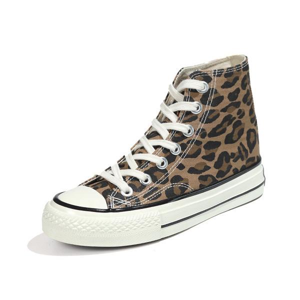 Zapatos de leopardo de mujer Zapatos planos de impresión Zapatos de mujer con cordones Zapatos de lona dorados Zapatillas de deporte de otoño Zapatillas altas para mujer FDGV-EE