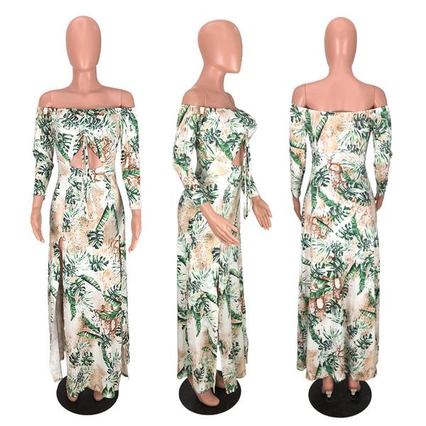 2019 donne di estate dei vestiti casuali 2019 signore Out abiti di marca Flora Stampato Spalato Hollow Sexy Summer Holiday Styel Piano Lunghezza Abiti