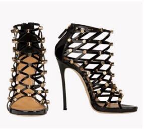 Sexy ausgeschnitten oberschenkel hohe stiefel strass besetzt frauen sommer gladiator sandale stiefel high heel über das knie lange botas