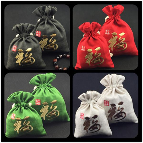 Chinese Embroidery Fu Large Christmas Gift Bags for Jewellery Pouches Drawstring Cotton Linen Wedding Party Gift Bags 10pcs/lot