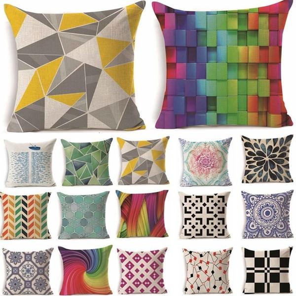 Riancy Geometrische Leinen Kissenbezug Regenbogen sein Ihr Zuhause braucht Farbe Dekokissen Heim Sofa Dekorative Kissen 40229