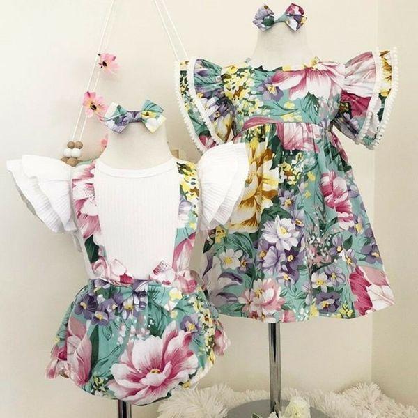 Principessa Little / Big Sister Neonate Vestiti Toddler Kids Flower Top Bib Shorts Dress Fasce Family Sister Matching Outfit