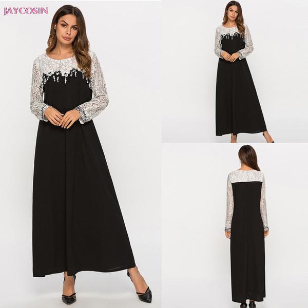 2019 Muslim Clothe S- 4XL Women Patchwork Muslim Plus Szie Lace Splice LongSleeve Dress Islam Jilbab Dress Lover Gift Drop #0409