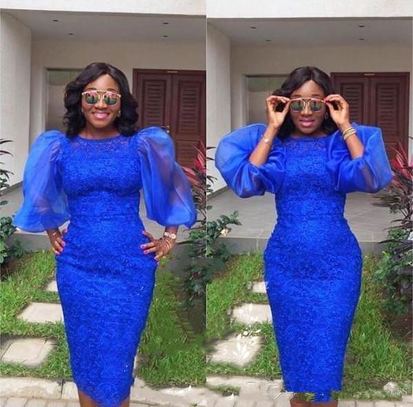 Neue 2019 Königsblau Aso ebi Short Cocktailkleider Puffy Sleeve Jewel African Prom DressesLace knielangen Mantel Abend Party Wear Kleider