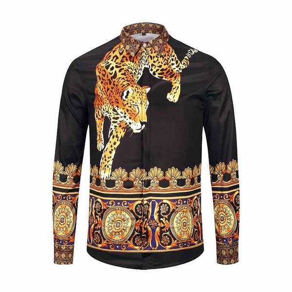 2018 new trend fashion men's shirt designer 3D floral print long-sleeved men's Medusa slim shirt M-2XL