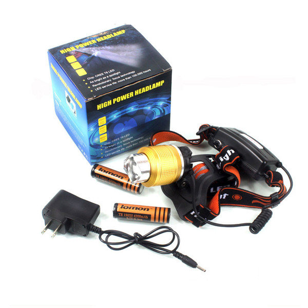 XML T6 Mini LED Headlamp Blue White Light Zoom Rechargeable Hunting Headlight Super Bright Bicycle Cycling Torch Head Lamp + Battery Charger