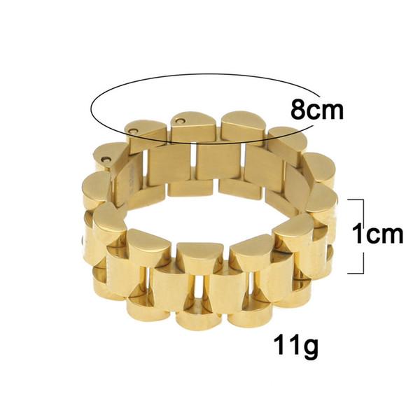Luxe 24K plaqué or classique hommes anneaux en acier inoxydable anneau de lien doré Hip hop Mens Style de bracelet Président président hommes bague anneau