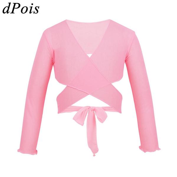 New Girl Ballet Wrap Top Long Sleeve Gymnastic Leotard Jacket Dance Sweater Tops Coat Kids Dance costume Ballet Knotted Cardigan