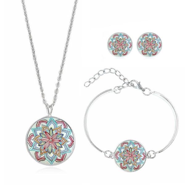 Очаровательное стекло Gem сплав различных стили Женщины ожерелье браслет серьга Шпилька из трех частей Несколько Случаев Формальной Изящных девушек Gifts