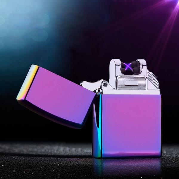 Encendedor de cigarrillos con pulsador electrónico de doble arco Encendedor a prueba de viento Encendedores eléctricos Encendedor recargable USB con caja de regalo