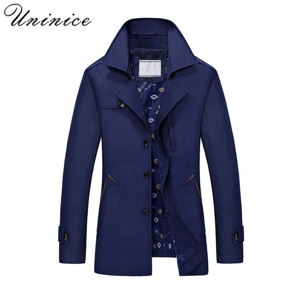 Autumn Winter Men's Coat Male Foraml Trench Coat Long Pure Color Leisure Business Men's Wear Wind Trench Coats