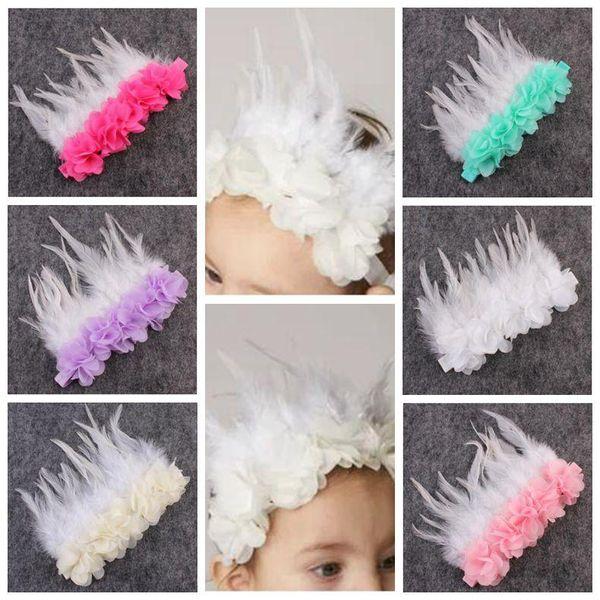 6 Farben Hübsches Kind Mädchen Feder Blume Stirnbänder Neugeborenen Haarband Kinder Haarschmuck Kinder Kleinkind Stirnbänder CCA11326 30 stücke