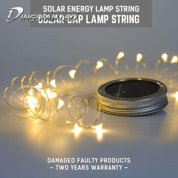LED Solar String light Mason Jar Lid Insert Fairy Light 20LEDs Hot Sale Christmas Lights Outdoor Wedding Home Bedroom Decor