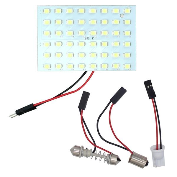 top popular 2PCS 48 LED 1210 3528 SMD Car Panel Light Bulbs T10+BA9S+Festoon Dome Lamp 2021