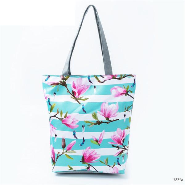 Boa qualidade Listrado Design Floral Impresso Tote Bolsa Feminina Lona Praia Saco Senhora Uso Diário Casuais Ombro Saco Meninas