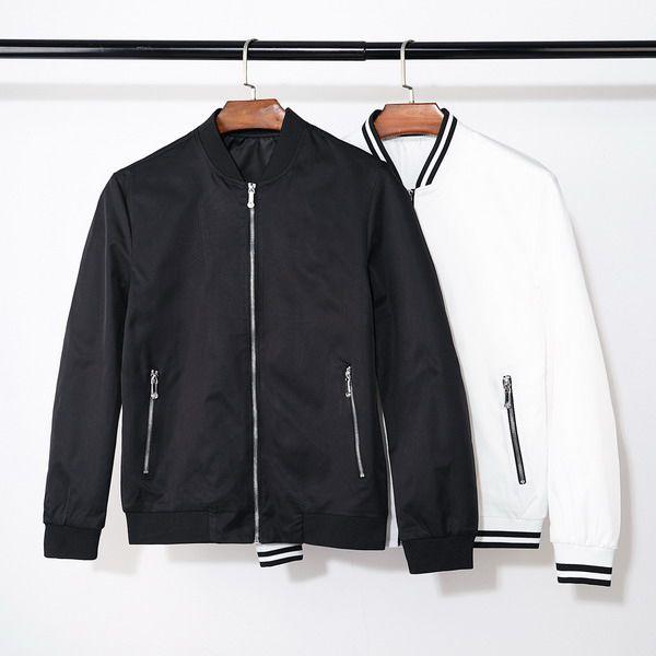 2019 Yüksek Moda Marka Erkek Tasarımcı Uzun Kollu Ceketler Fermuar Fomal Bussiness Mont Standı Şerit Yaka Giyim En Kaliteli B100239V
