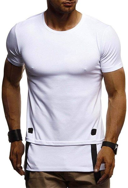 Fitness Panelled Solid Color Mens Tshirts Crew Neck Short Sleeve Fashion Mens Tops