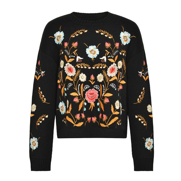 2019 Early Spring Sweater Embroidery Pullover Sweaters Knitting Jacket Goods In Stock High Quality And Exuqisite
