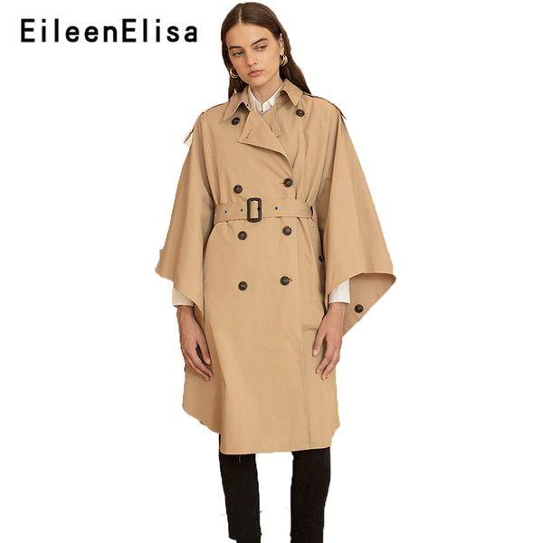 Eileen Elisa Poncho Trench Coat Elegant Style Cape Vintage Cloak Coat Long Winter Women Fashion Trench Khaki With Belt