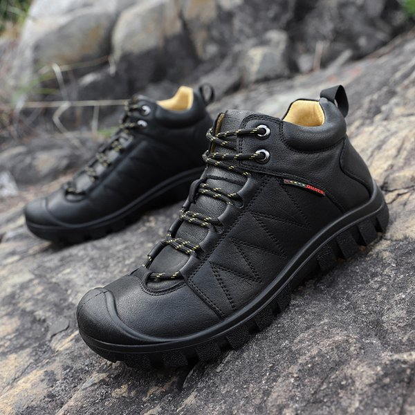 Hemmyi Men Hiking Shoes Winter Boots Outdoor Sport Shoes Cotton Fabric Mens Winter Trends Mens Leather Sneakers Climbing