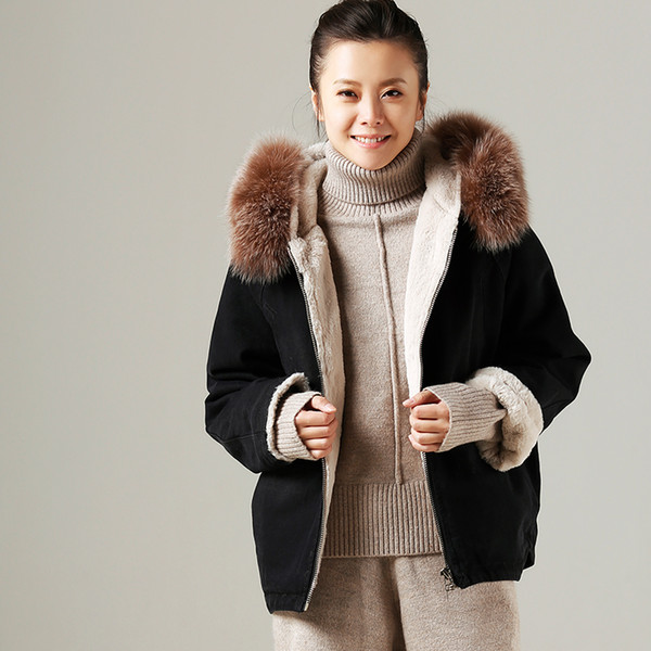 Literature and Art Large Size Cotton Hat Plus Fleece Fox Fur Collar Coat Plus Thicker Cotton Clothes for Woman Winter