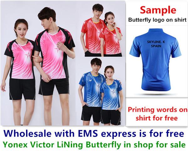 EMS en gros gratuitement, impression de texte gratuite, nouvelle chemise de badminton vêtements tennis de table T chemise de sport vêtements b001